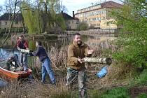 Úklid rybníka Trubný v Bechyni.