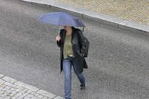Déšť v ulicích Tábora