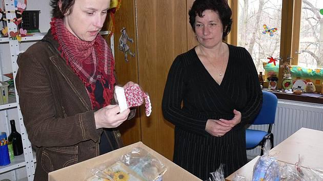 Krabici plnou krásných obrázků, pomalovaných kuchyňských prkýnek, jahelníčků, nápaditých šperků, váziček či korkových prostírání si včera v táborském domě dětí a mládeže převzala koordinátorka projektu Mámy pro mámy Klára Csirková.