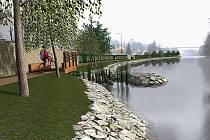 Takto nějak by mohla vypadat protipovodňová zeď na břehu Lužnice v Táboře.