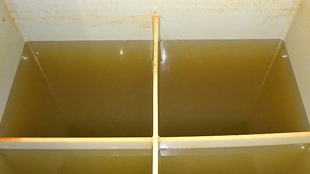 Takhle vypadá voda v zadržovací nádrži studny Dolejších ze Stoklasné Lhoty. Nejenom, že je nažloutlá, navíc také skutečně odporně zavání.