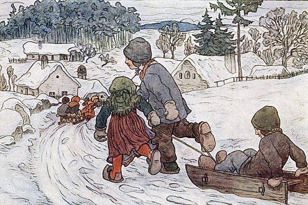 ILUSTRACE.  Ukázka tvorby zknihy  Radosti malých, kdy zachytil jistebnické děti při hře.