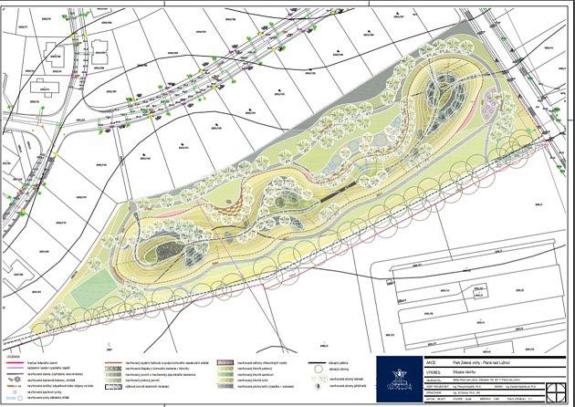 Kopcovitý park Zelené vrchy nabídne hřiště, lávku, skluzavky, venkovní posilovnu, amfiteátr pro setkávání irozhlednu.