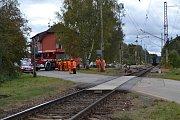 Nehoda na železničním přejezdu v Roudné u Soběslavi.