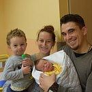 Adam Jankůj ze Skrýchova u Malšic. Narodil se 14. ledna v 5.13 hodin. Vážil 3060 gramů, měřil rovných 50 cm a doma má brášku Péťu, kterému jsou dva roky a dva měsíce.