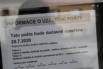 Pošta v Mladé Vožici zavřela kvůli koronaviru u své doručovatelky.