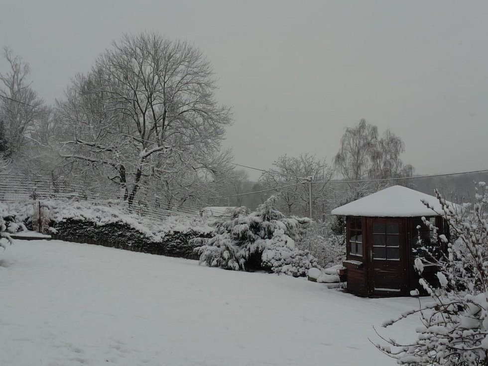 Sníh v Dráchově.