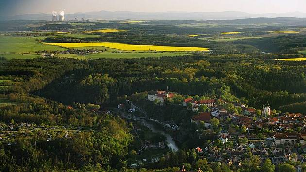 Letecký pohled na Bechyni