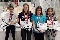 Táborské medailistky. Zleva Lucie Kvěchová, Linda Čeňková, Kateřina Hlávková a Anna Jirmusová.