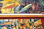 V Soběslavi se nyní během posledních rozloučení budou zraky smutečních hostů upírat na obří autorské dílo Teodora Buzu Střípky života. Obraz vznikal v malířově ateliéru v Táboře během nouzového stavu.