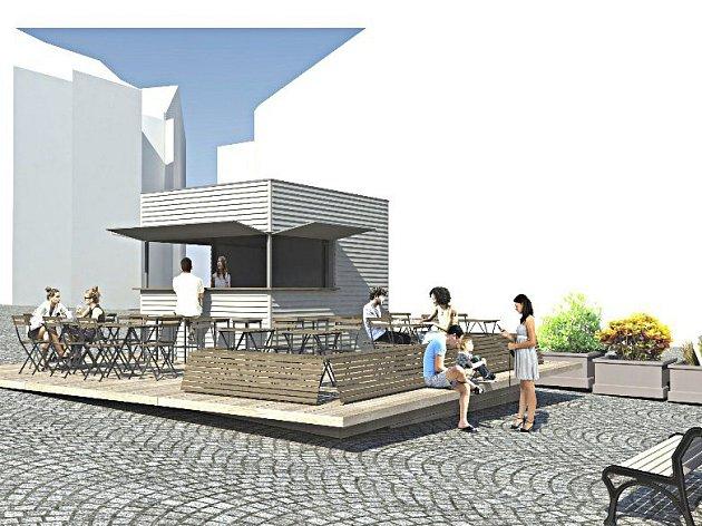Stánek na Žižkově náměstí vTáboře vreálu a dle návrhu architekta, který upamátkářů neprošel.