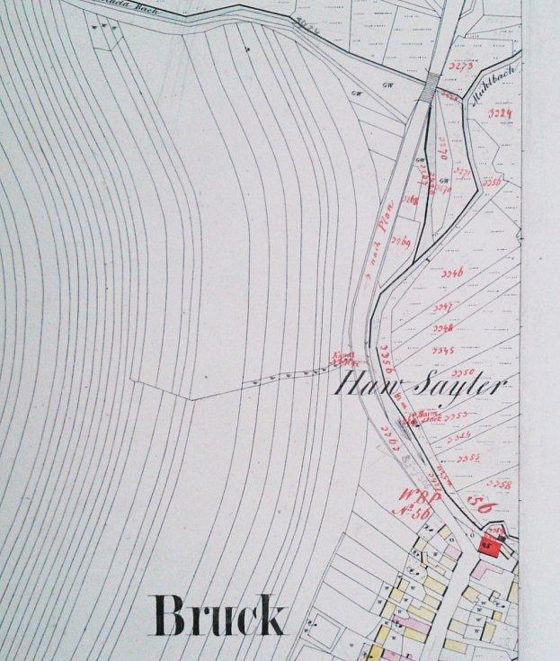 Mapa z roku 1838 zase část potoka před Brodem pojmenovává Mühlbach (v pravém horním rohu ve výřezu)