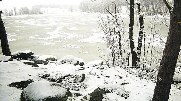 Zimní krajina kolem Bonětického rybníka.