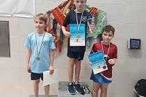 Pětičlenná usměvavá skvadra mladých plaveckých nadějí závodila v Domažlicích. Nejvíce se dařilo Hubálkovi.