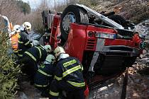 Nehoda dvou kamionů na dálnici D5 u Svaté Kateřiny směrem na Rozvadov.