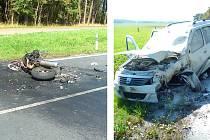 Nehoda motocyklu a osobního vozu u Janova