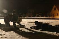 Chodovoplánští dobrovolníci cvičili na zamrzlém Kohouťáku.