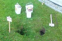Nory v trávníku kolem bytových domů musí být označeny upozorněním na trávení.