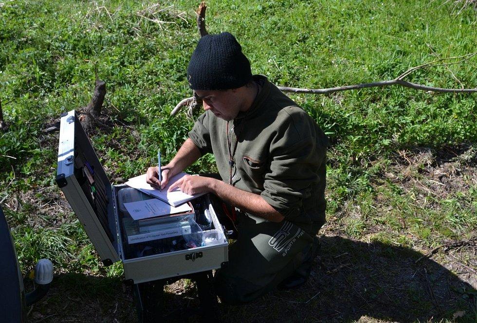 Ornitolog Martin Liška z Plané na Tachovsku při kroužkování.