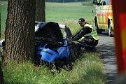 Před Ctiboří došlo k vážné dopravní nehodě osobního vozidla.