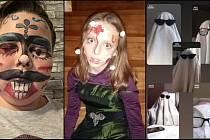 Masky, kterými se žáci ZŠ Hornická prezentovali.