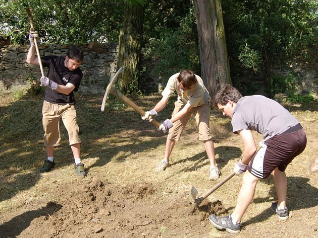 Zahraniční studenti (na snímku) ve Svojšíně pomáhají při úpravách zámeckého parku a přilehlých zahrad. My jsme je zastihli při odhalování několik staletí staré hřbitovní zdi.