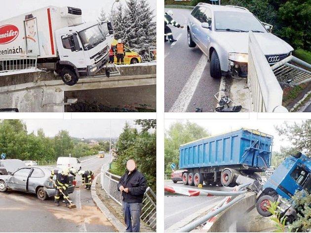 JEDNO MÍSTO, čtyři nehody. Most ve Stříbře začíná být noční můrou nejen pro řidiče, ale i pro záchranáře a silničáře. Letos se tam staly již čtyři nehody. První v lednu (horní snímek vlevo), další dvě v srpnu a poslední tento týden v úterý (dole vpravo).