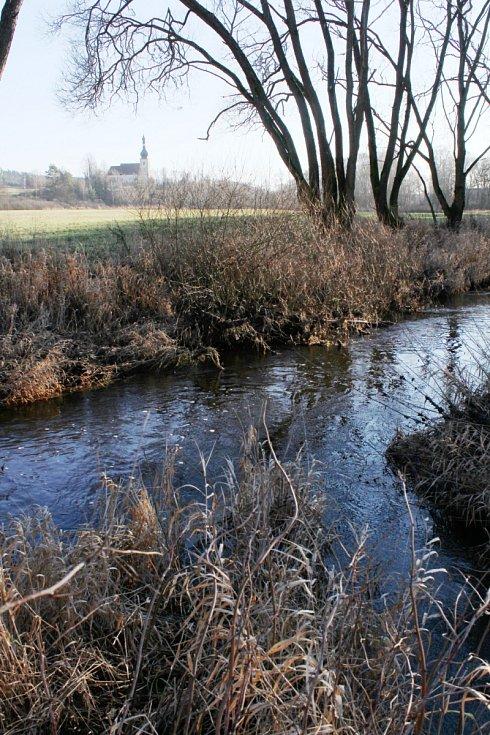 Soutok Hamerského a Slatinného potoka nad Brodem nad Tichou.