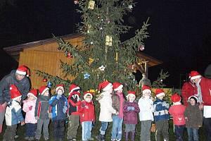 Poprvé v historii obce rozsvítil v Únehlích vánoční stromek.