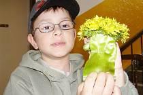 Sedmiletý Pavel Kastl ze Stříbra ukazuje pampelišku s osmi květy.