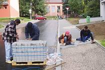 Práce v Sadové ulici v Tachově.