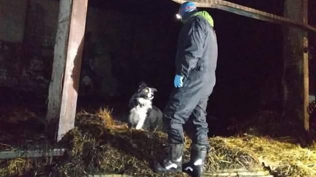 Místo požáru prohledal služební pes.