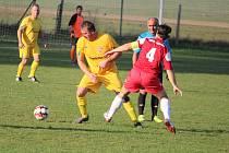 Jiskra Třemešné (v červeném) - Čechie Halže (ve žlutém) 3:1 (0:1).