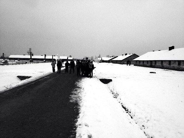 Pietní vzpomínka na oběti holokaustu vOsvětimi.
