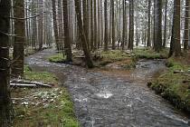 MÍSTO, kde se vlévá Pekelský potok (vpravo) do Tiché.