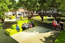 Počítačová vizualizace budoucí podoby parčíku před plánskou základní školou
