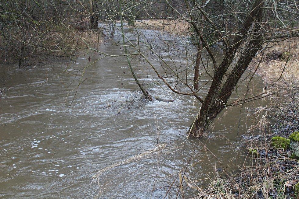 Kosový potok pod Třebelí a Hamerský potok v Plané v sobotu v poledne.