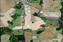 MÍSTO, KDE BUDOU HLEDAT. Červené kolečko na mapě ukazuje místo, kde se dnes uskuteční setkáni detektoristů.