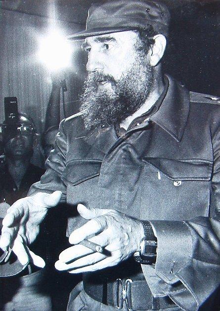 Fidel Castro při setkání sporotci festivalu na Kubě, kde byl itachovský potápěč František Soukup.