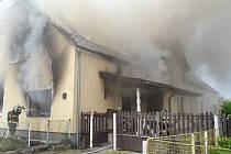 Požár rodinného domu v Maršových Chodech.