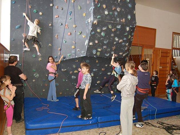Děti mohou v Tachově a Plané mohou využít příměstké tábory. Na fotografii děti lezou po horolezecké stěně v DDM Mraveniště.