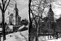 Kostel sv. Bartoloměje v Pístově na dobovém snímku a nyní.