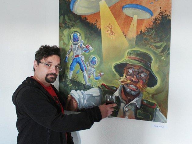 Malíř, ilustrátor a komiksový kreslíř Karel Jerie vystavuje v plánské Galerii ve věži.