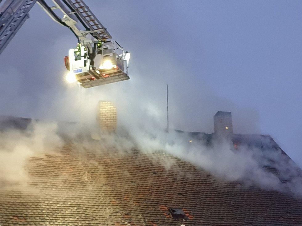 Požár bývalého pivovaru ve Stříbře.