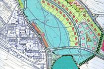 STUDIE UKAZUJE, jak by měl být pozemek pod hřbitovem v Tachově využit pro novou bytovou výstavbu. Pro orientaci: vlevo dole sídliště Rapotín.