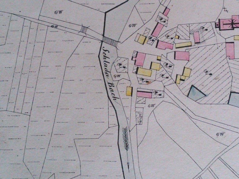 Mapa z roku 1838 uvádí název potoka jako Schlada Bach..