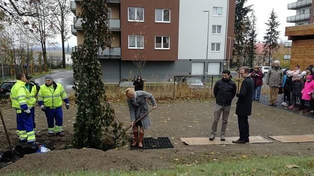 Vysazování lípy u bývalé české menšinové školy.