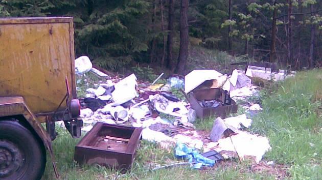 Snímek z nedávného úklidu černých skládek, které se objevily v lesích v bezprostředním okolí Tachova.