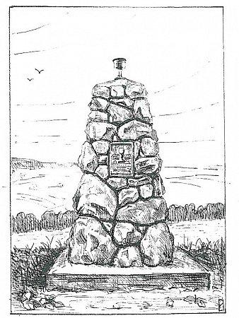 Náčrtek Husitského pomníku vPamětní knize České obecné školy