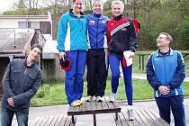 """V """"Ceně Dukly Praha"""" skončila pětibojařka Soňa Műllerová (nahoře vlevo) na druhém místě. Na snímku jsou dále vítězka závodu Tereza Bayerová a třetí Andrea Lovrantová."""